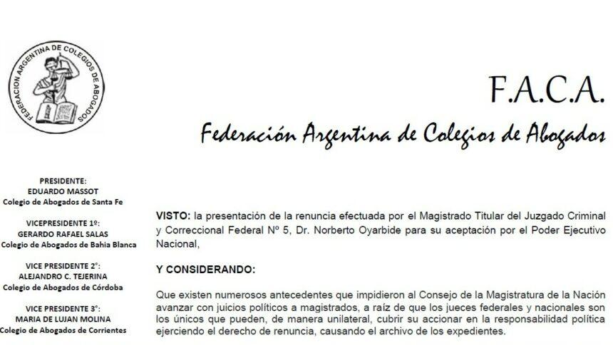 Resolución de FACA ante la renuncia del Dr. Norberto Oyarbide