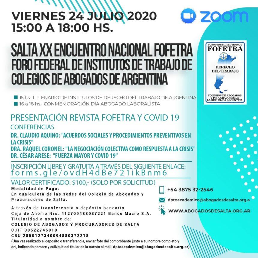 XX ENCUENTRO NACIONAL FOFETRA: 24 DE JULIO