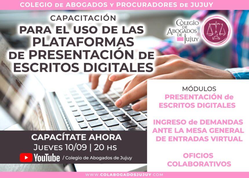 Capacitación para el uso de las plataformas de presentación de escritos digitales