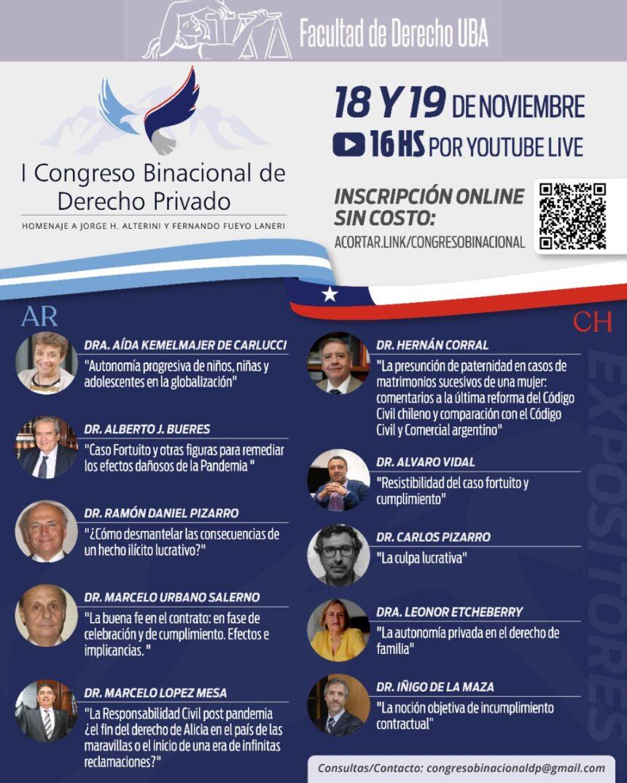 Invitación para  participar del I Congreso Binacional de Derecho Privado
