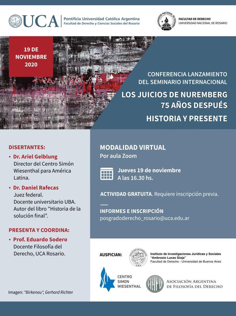 Conferencia lanzamiento del Seminario Internacional: Los Juicios de Nuremberg