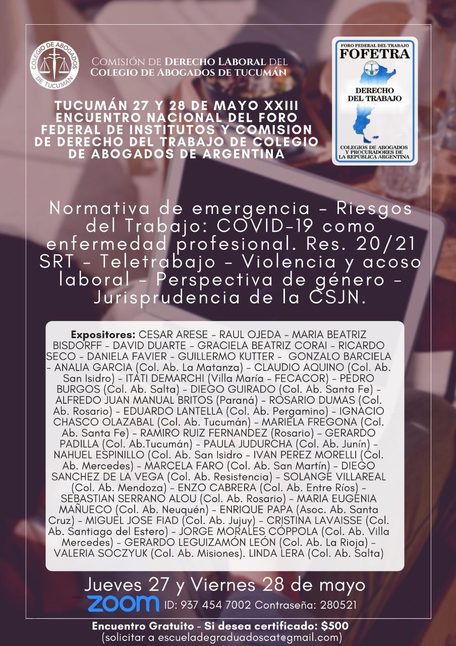 XXIII Encuentro Nacional del Foro Federal de Institutos y Comisión de Derecho del Trabajo de Colegio de Abogados de Argentina